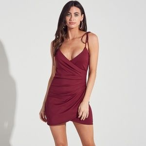 WRAPPED SHOULDER TIE MINI BODYCON DRESS